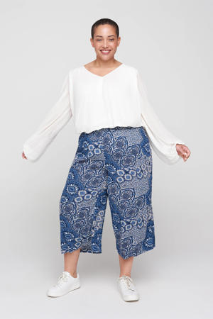 cropped loose fit culotte VWISMA met all over print blauw/wit