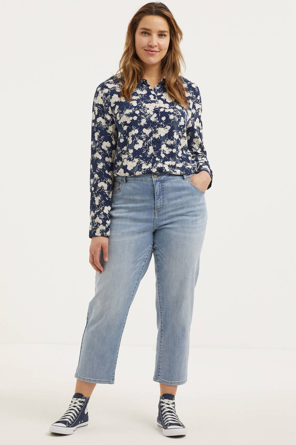 Zizzi cropped straight fit jeans JGIA light denim, Light denim