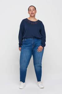 Zizzi sweater Mmemo met kant donkerblauw, Donkerblauw