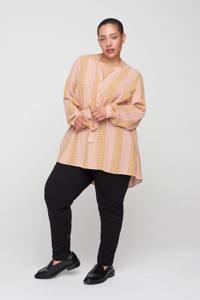 Zizzi top LEXI  met all over print okergeel/roze/wit, Okergeel/roze/wit
