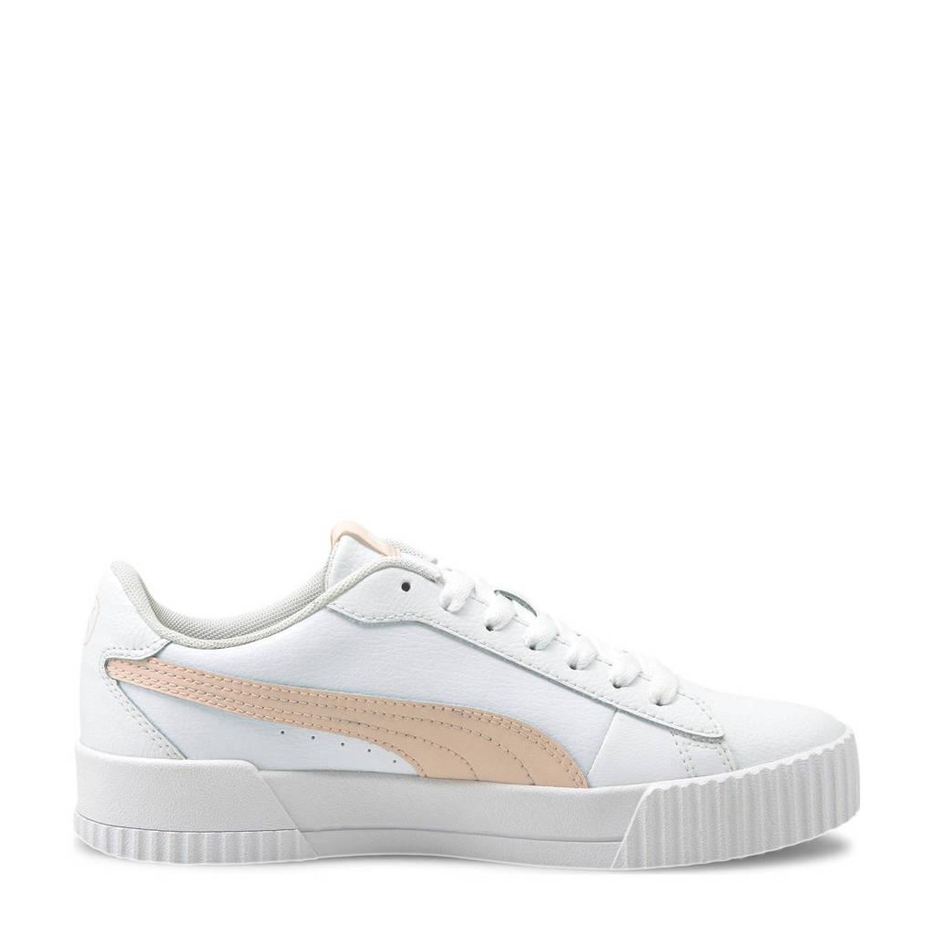 Puma Carina Crew leren sneakers wit/lichtroze, Wit/lichtroze