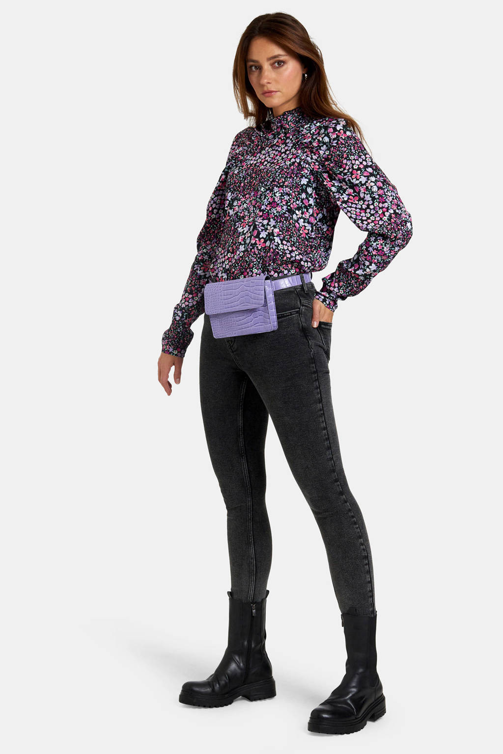 Eksept by Shoeby top met all over print roze, VARIOUS