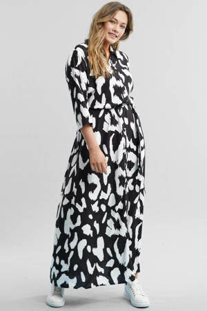 blousejurk met all-over animal print zwart/ecru