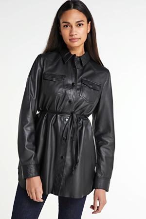 leren blouse Fayre met ceintuur zwart