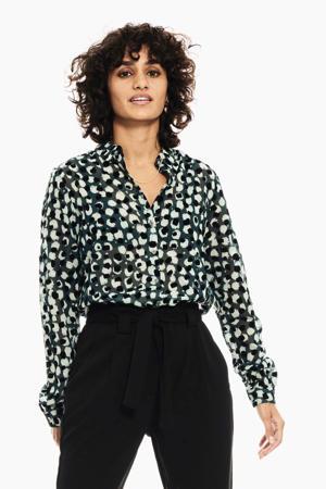 blouse met all over print donkergroen/zwart