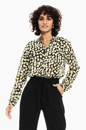 blouse met all over print olijfgroen/geel