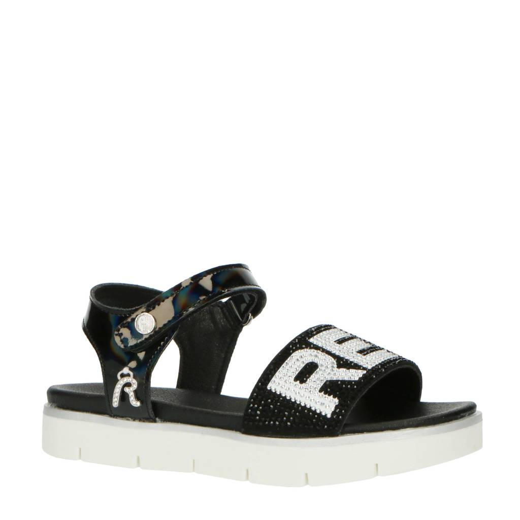 REPLAY Izumo  sandalen met strass steentjes zwart/wit, Zwart/wit