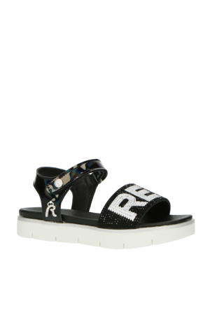 Izumo  sandalen met strass steentjes zwart/wit