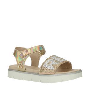 Izumo  sandalen met strass steentjes goud/wit