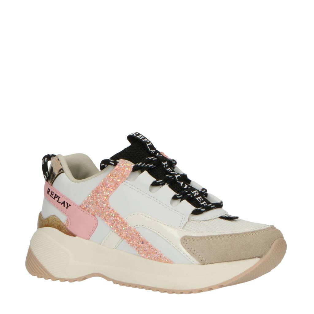 REPLAY Flys  leren chunky sneakers wit/roze, Wit/roze