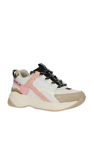 Flys  leren chunky sneakers wit/roze