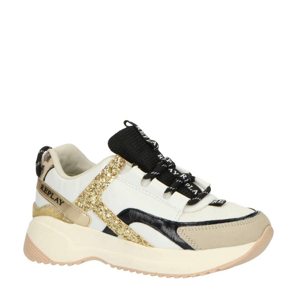 REPLAY Flys  leren chunky sneakers wit, Wit/goud