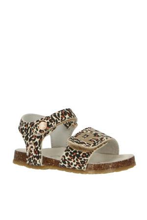 Ibiza  sandalen met panterprint goud