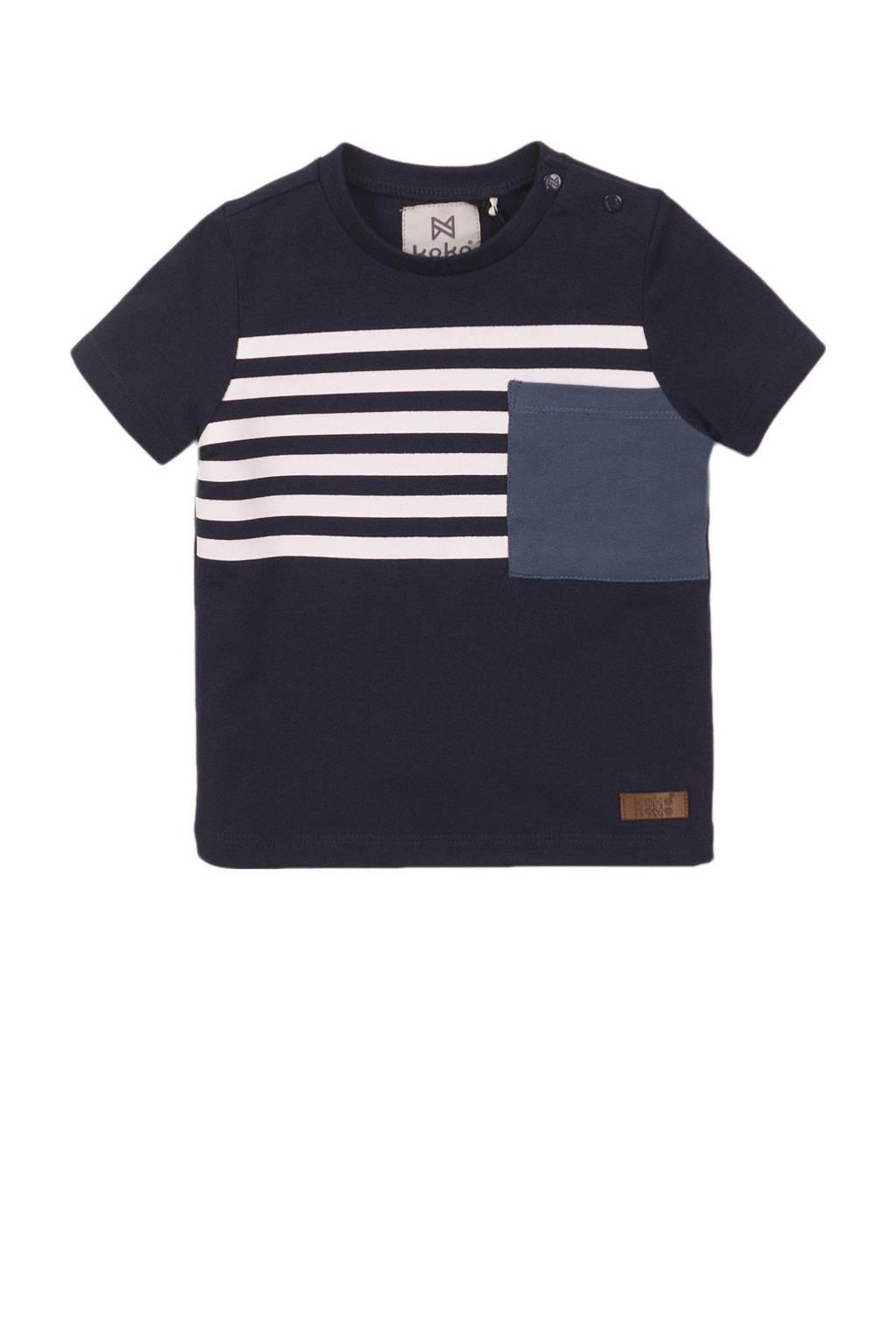 Koko Noko T-shirt donkerblauw/wit/blauw, Donkerblauw/wit/blauw
