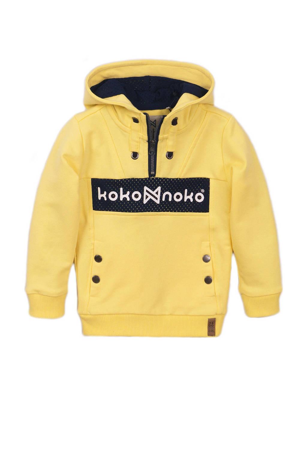 Koko Noko hoodie met logo geel/zwart, Geel/zwart