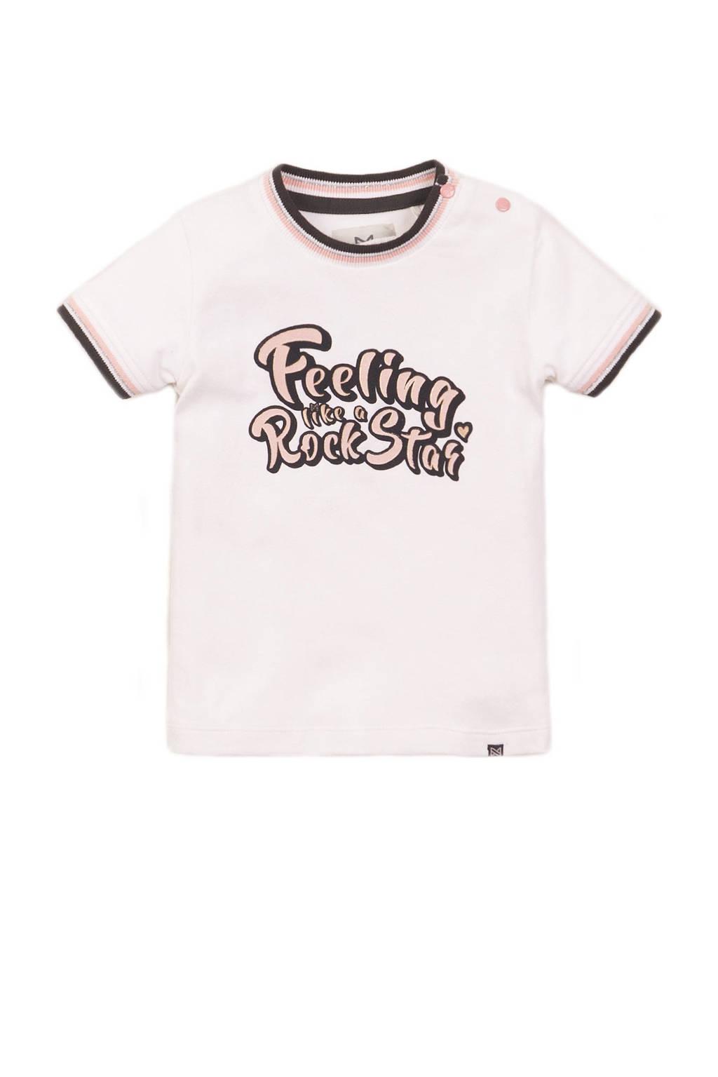 Koko Noko T-shirt met tekst wit/lichtroze, Wit/lichtroze