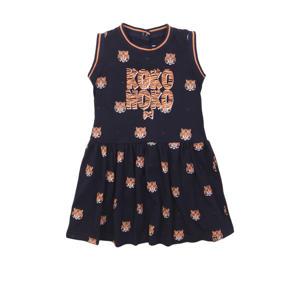 jurk met contrastbies en plooien donkerblauw/oranje