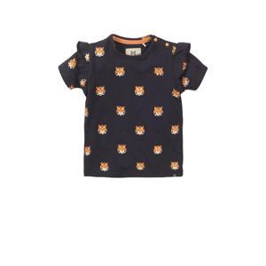 T-shirt met all over print en ruches donkerblauw/oranje