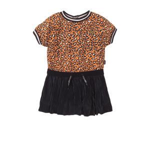 jurk met contrastbies donkerblauw/oranje