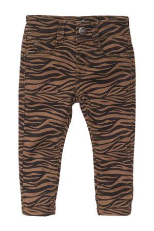 skinny jeans met zebraprint camel/zwart