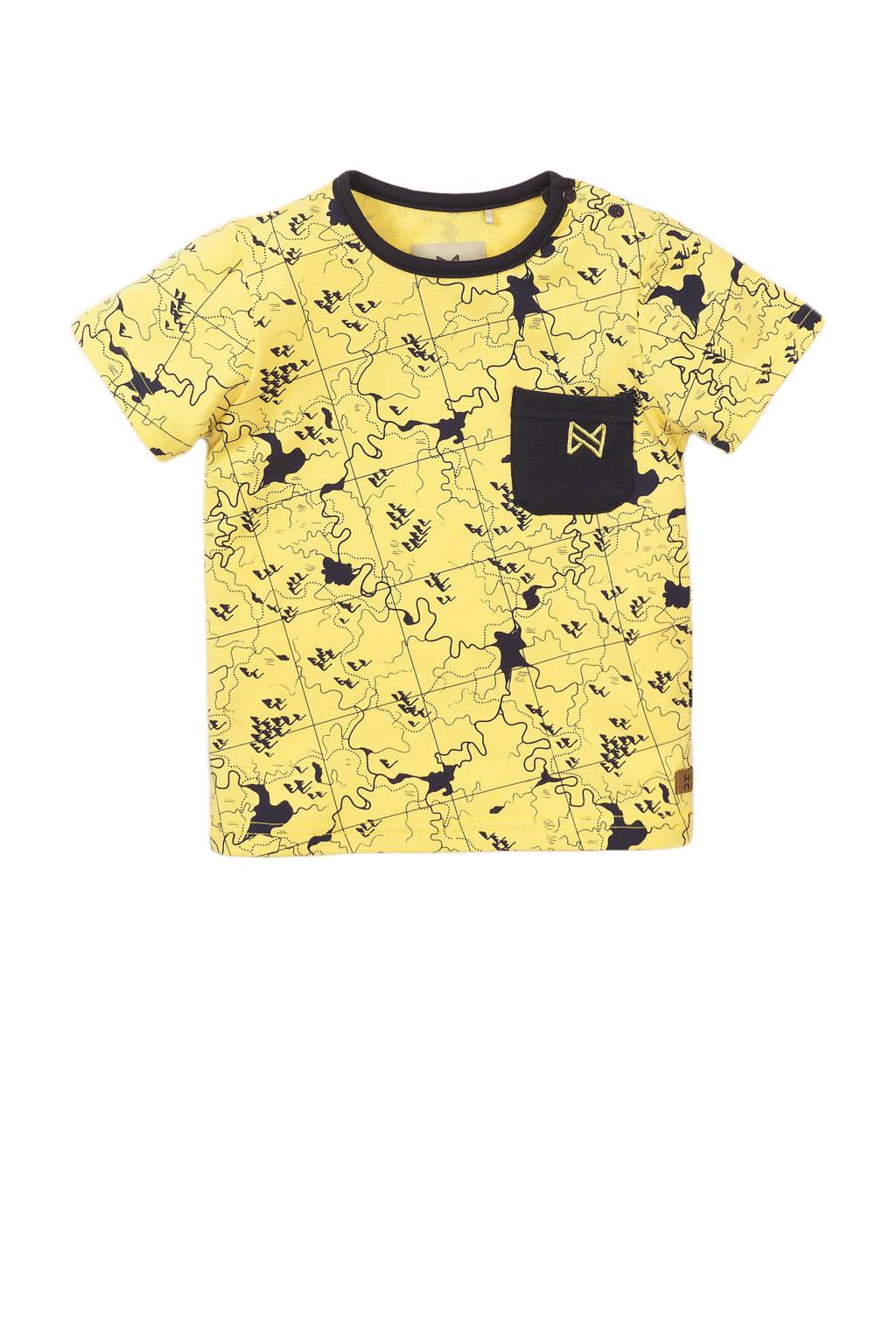 Koko Noko T-shirt met all over print geel/zwart, Geel/zwart