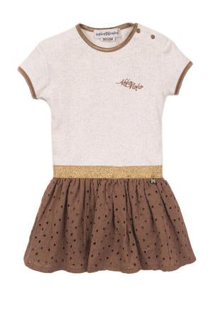 ribgebreide jurk met glitters camel/beige