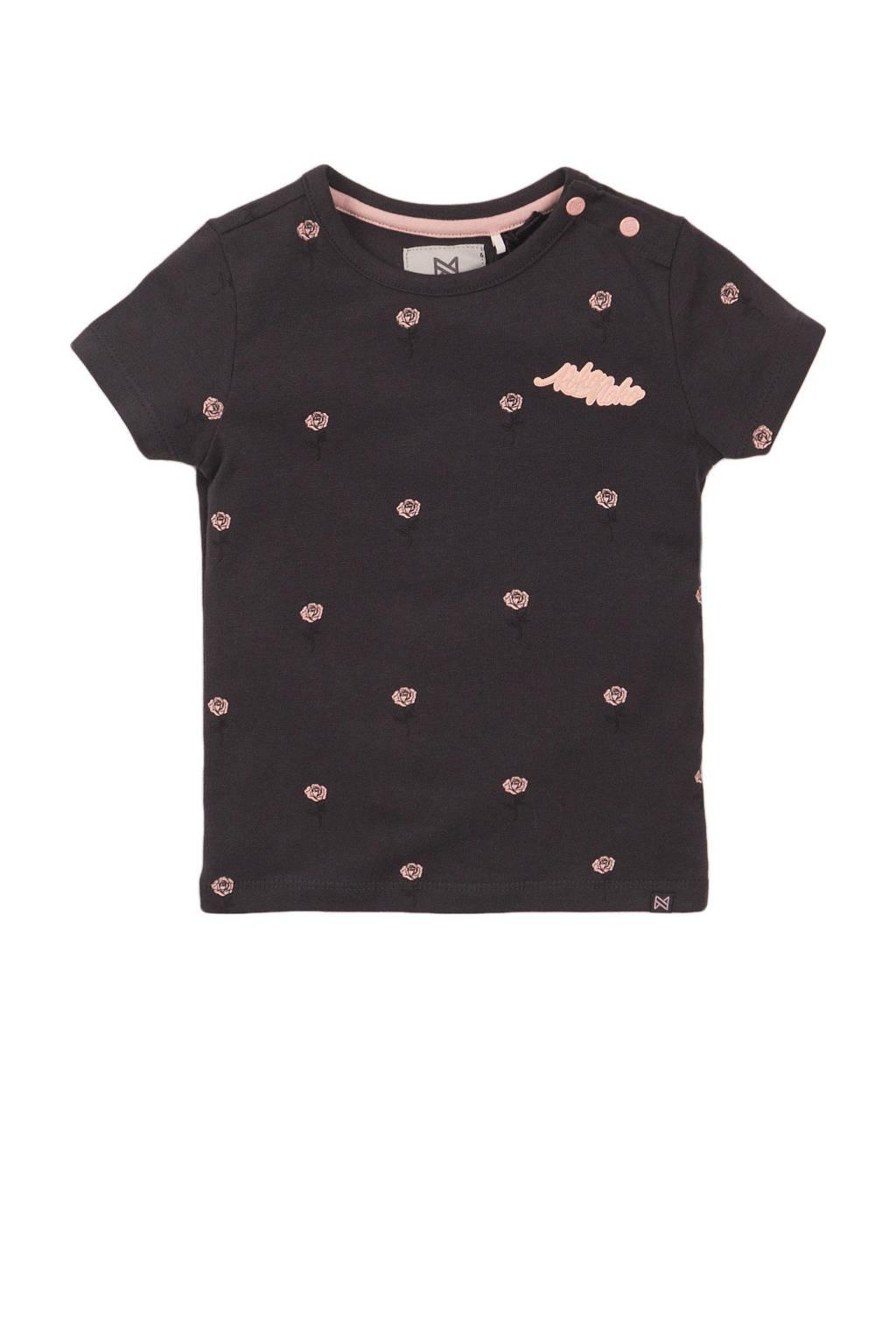 Koko Noko T-shirt met all over print antraciet/roze, Antraciet/roze