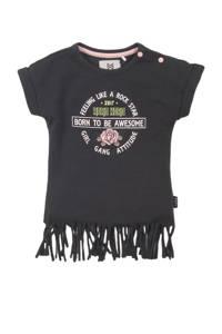 Koko Noko T-shirt met printopdruk en franjes antraciet/roze/groen, Antraciet/roze/groen