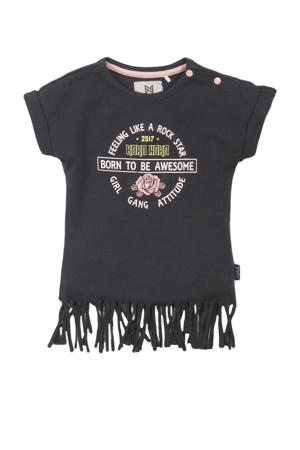 T-shirt met printopdruk en franjes antraciet/roze/groen