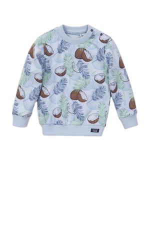 sweater met all over print lichtblauw/blauw/groen