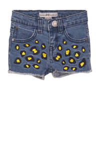 Koko Noko jeans short met all over print en borduursels stonewashed/zwart/geel, Stonewashed/zwart/geel