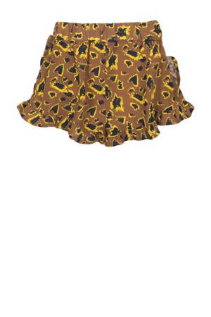 short met all over print camel/zwart/geel