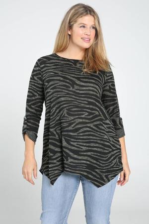 tuniek met zebraprint donkergroen/zwart