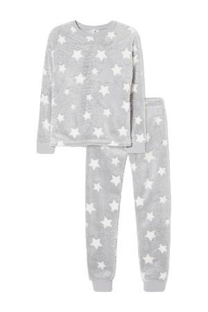 pyjama met sterrenprint lichtgrijs/wit