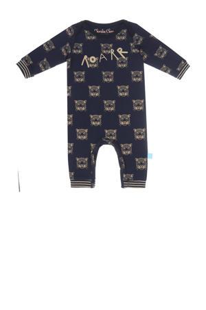 baby boxpak met all over print donkerblauw/zand