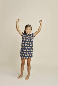 Charlie Choe nachthemd met all over print donkerblauw/zand
