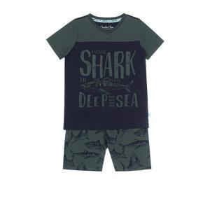 shortama met all over print groen/donkerblauw
