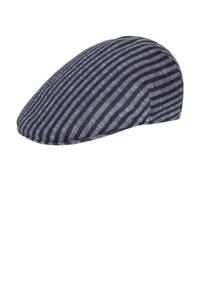 Profuomo gestreepte flatcap grijs/blauw, Grijs/blauw