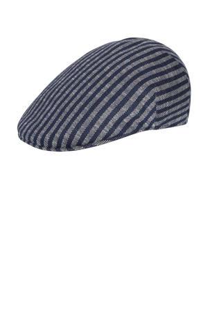gestreepte flatcap grijs/blauw