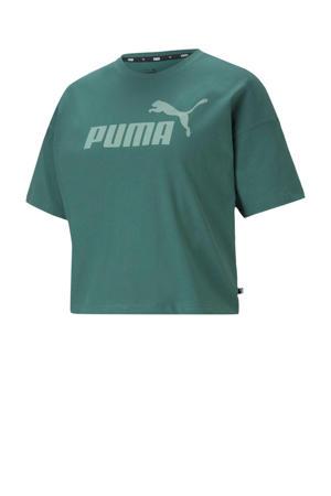 cropped T-shirt blauw