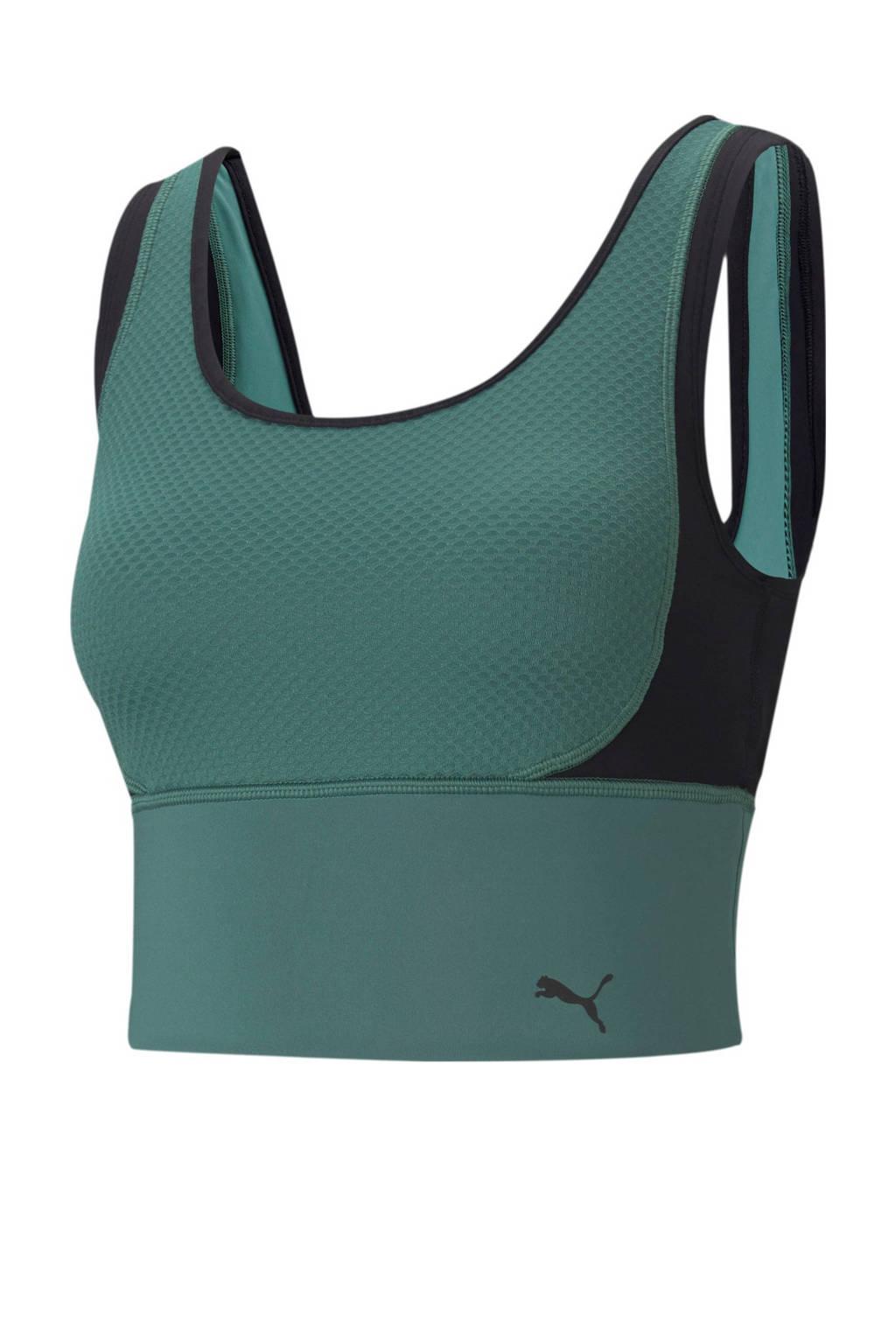 Puma level 1 sportbh groen/zwart, Groen/zwart