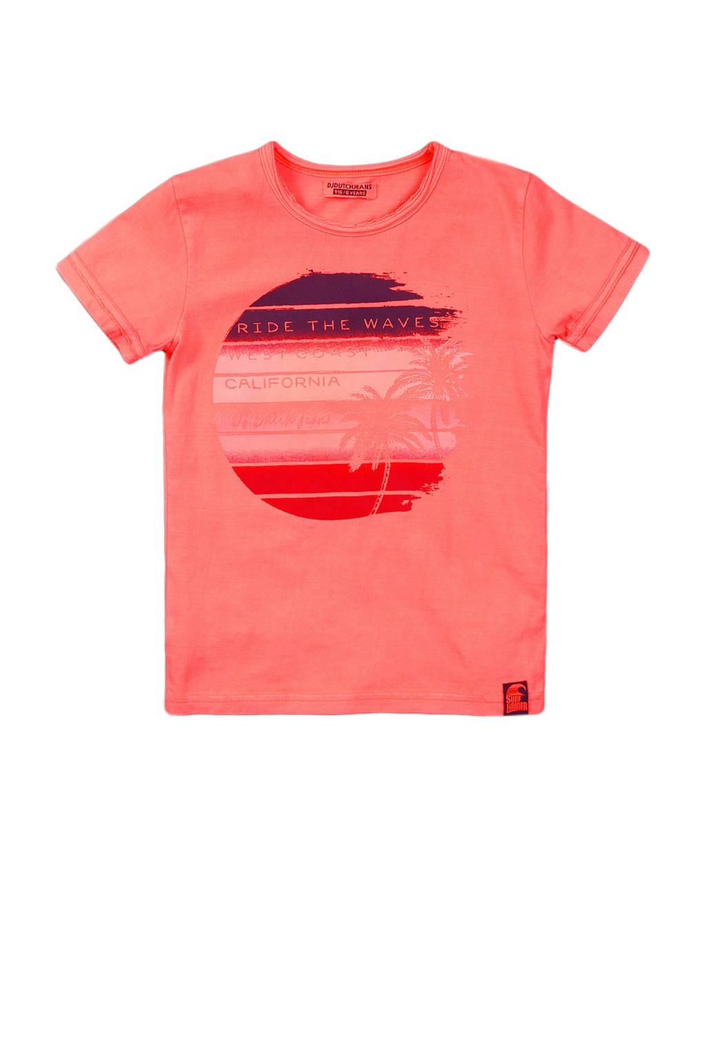 DJ Dutchjeans T-shirt met printopdruk koraalrood, Koraalrood