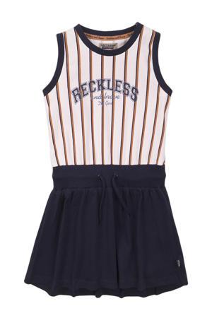 jurk met plooien donkerblauw/wit/cognac