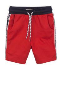 DJ Dutchjeans sweatshort met zijstreep rood/donkerblauw/wit, Rood/donkerblauw/wit