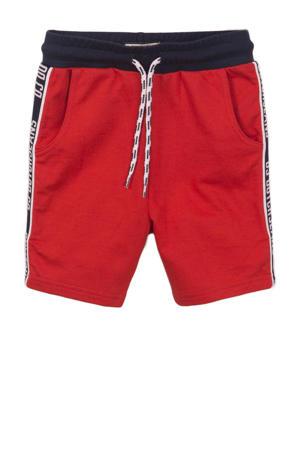 sweatshort met zijstreep rood/donkerblauw/wit