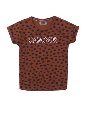 T-shirt met all over print cognac/zwart