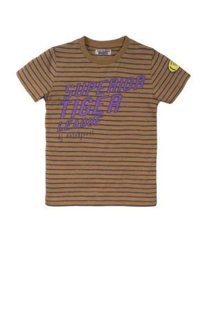 gestreept T-shirt camel/paars