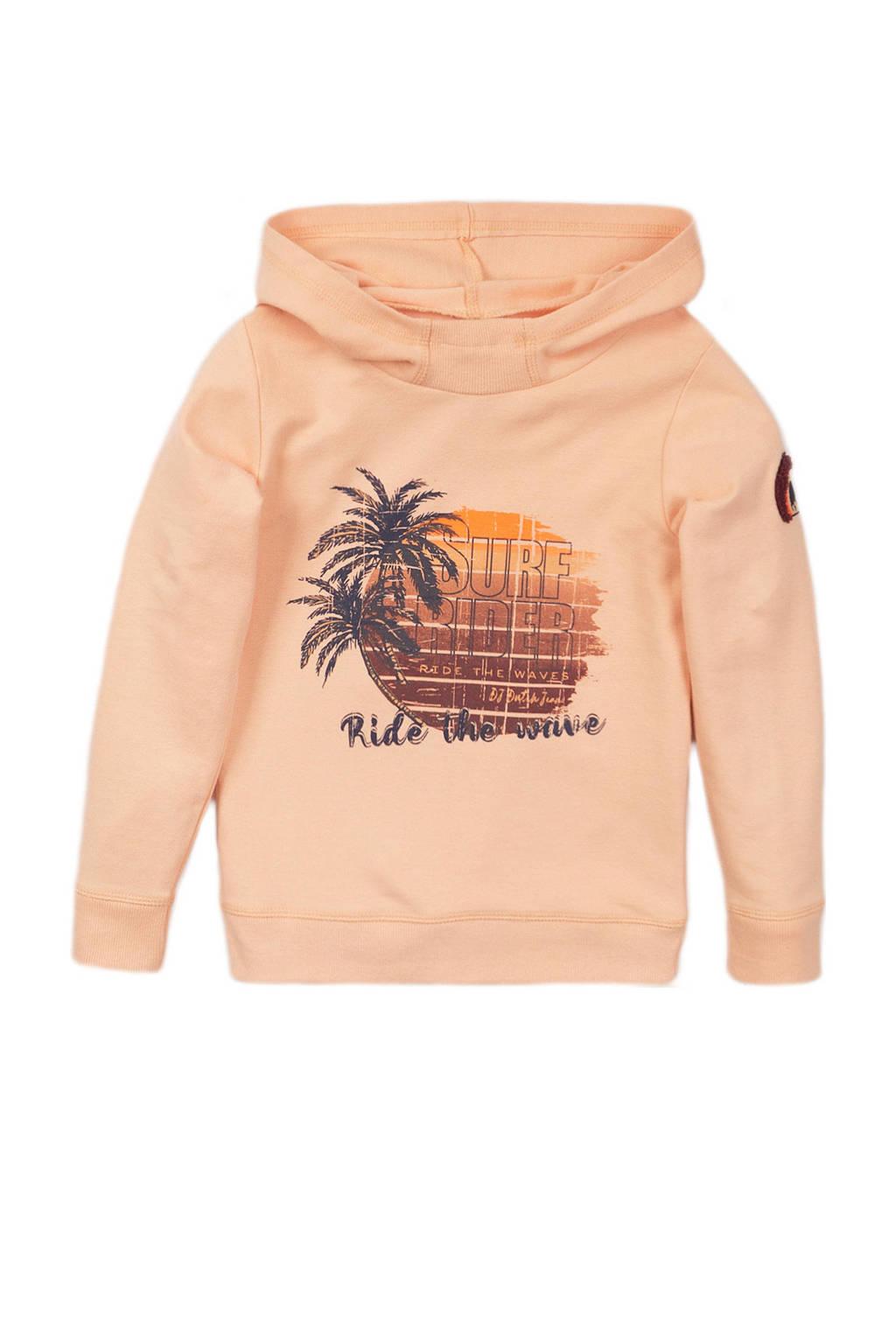 DJ Dutchjeans hoodie met printopdruk lichtoranje, Lichtoranje