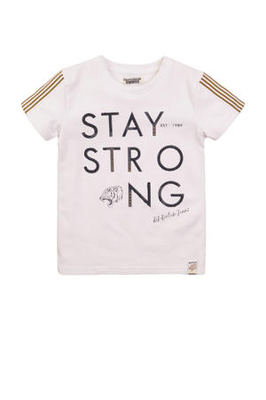 T-shirt met contrastbies wit/bruin/zwart