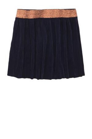 ribgebreide rok met glitters donkerblauw/oranje